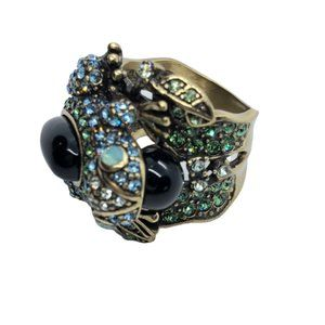Heidi Daus Crystal Covered Frog Statement Ring